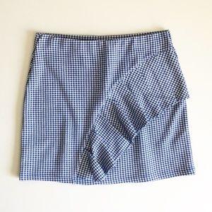 Topshop Gingham Ruffled Mini Skirt NWOT Sz 8